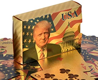 Donald Trump Playing Cards - 24K Gold Plated Commemorative Collectors Edition Playing Cards. Stunning Gold Plated Deck of Cards In Gold Foil Box and Presentation Display. Certificate of Authenticity