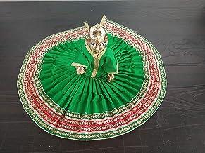 finaldeals Brass Laddu Gopal Deity with Laddu Gopal Dress Bal Gopal Poshak Vastra Kanha Ji Dress Green with Lace for Size ...