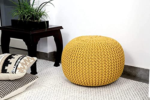 Nishtha Overseas Pouf Puffy for Living Room Sitting Round Ottoman Bean Filled Stool for Foot Rest Home Furniture Rope Twisted Bean Bag Design 14 inch Height Yellow 1Pc