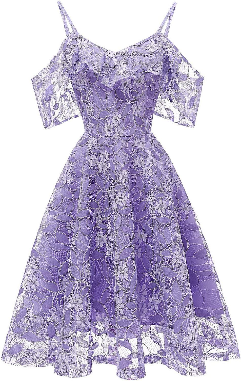 Women's Swing Midi Lace Dress A line Off The Shoulder Ruffles Dresses