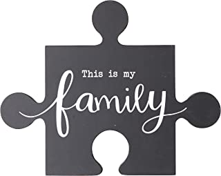 NIKKY HOME This is My Family Inspirational Wood Puzzle Piece Wall Sign Plaque with Sayings
