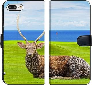 Liili Premium iPhone 8 Plus Flip Micro Fabric Wallet Case Chital Deer Spotted Deer Axis Deer on Green Image ID 39491092