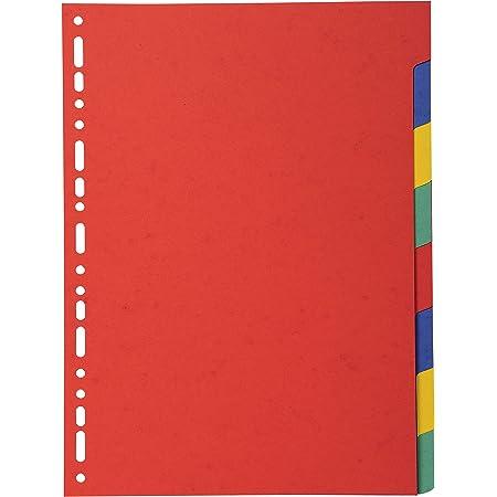 Exacompta - Réf. 2008E - Intercalaires en carte coloris vifs recyclée 220g/m2 avec 8 onglets neutres - Format à classer A4 - Dimensions 22,5 x 29,7 cm