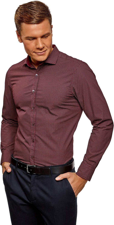 oodji Ultra Hombre Camisa Estampada de Manga Larga