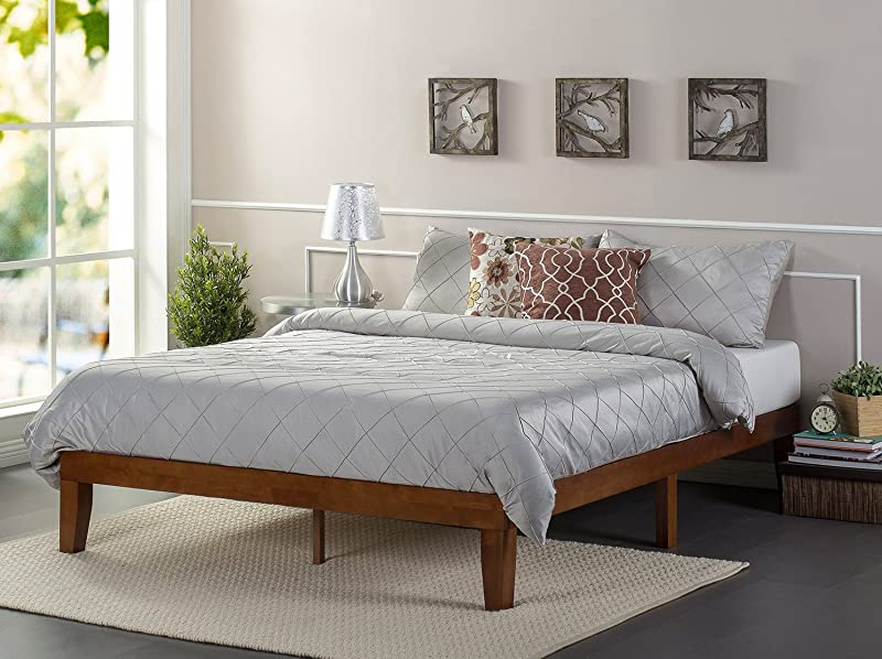 Zinus Wen 12 Inch Wood Platform Bed Frames No Box Spring Needed Wood Slat Support Cherry Finish Full
