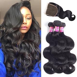 Originea Brazilian Body Wave Bundles With Closure Virgin Hair 3 Bundles 100% Unprocessed Remy Human Hair Weave Weft Extensions Natural Color 300g(12''14''16''+10''closure)