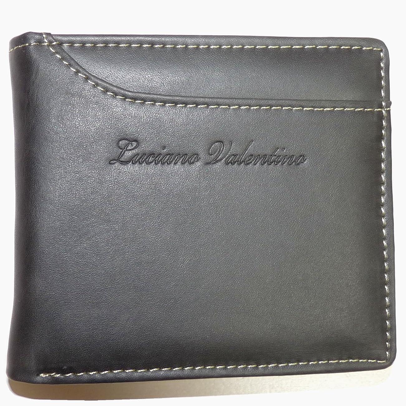 傷つきやすいだます感心する[LUCIANO VALENTINO ルチアーノバレンチノ] かっこいい大人のカードスライダー短財布 (スムースレザー LUV-2005) (ブラック)