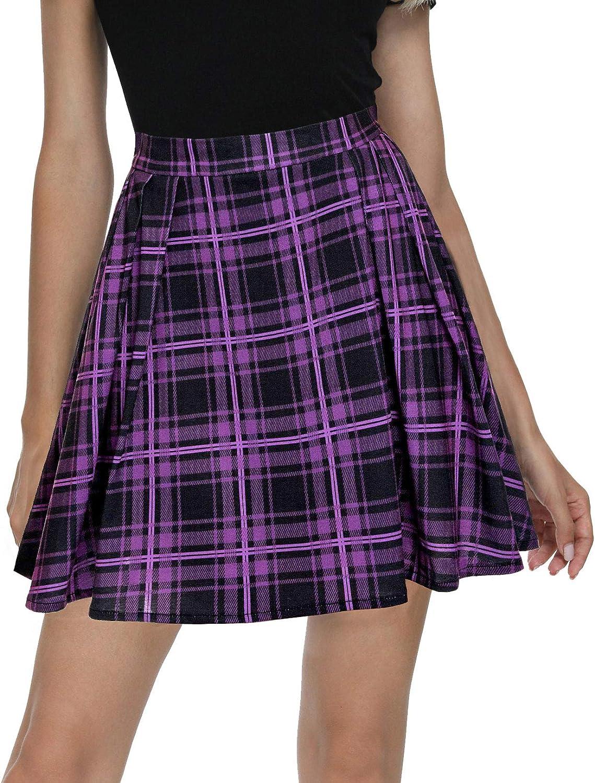 Urban CoCo Women Plaid Pleated Mini Skater Skirt High Waisted School Skirt