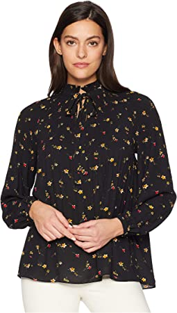 Print Georgette Tie Neck Top
