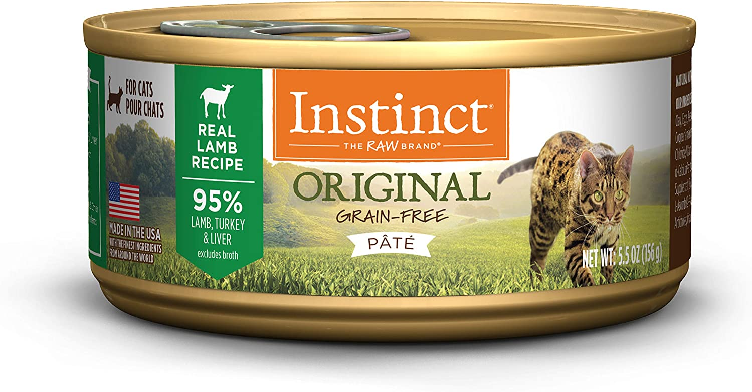 Nature's Variety Instinct Grain Free Lamb Formula Natural Wet Canned Cat Food, 5.5 oz. Cans (Case of 12)