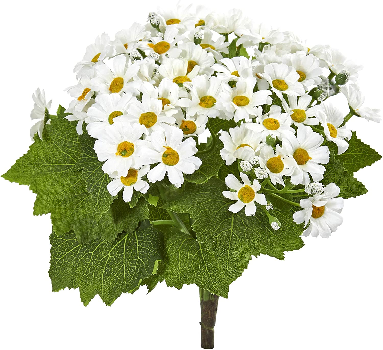 Nearly Natural 2287-S6-WH Daisy Bush Artificial (Set of 6) Silk Flowers White