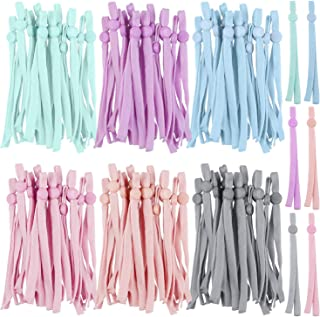 Aneco 100 Pieces Sewing Elastic Band Cord with Adjustable Buttons Ear Bands Stretchy Lanyard Adjustable Sewing Earmuff Rop...