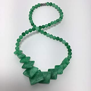Unique Natural Green Jade Gemstone Square beads Real Handmade Beaded DIY New Fashion Jewelry For Women