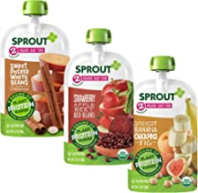 Sprout Organic Baby Food Stage 2 Plant Protein Variety Pack, Strawberry Apple Beet Red..