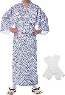 Elibelle Japanese Casual Kimono Traditional Easy Wearing Cotton Yukata Robe for Men with Belt and tabi Socks