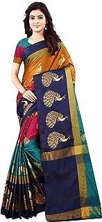 DHRUVI TRENDZ Women's Banarasi Cotton Silk Saree With Blouse Piece
