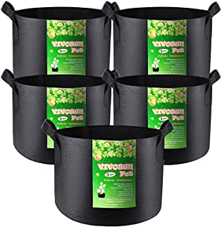 VIVOSUN 5-Pack 7 Gallon Plant Grow Bags, Premium Series Thichkened Non-woven Aeration Fabric Pots w/Handles - Reinforced W...