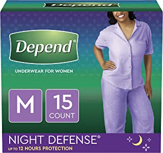Depend Night Defense Incontinence Overnight Underwear for Women, Medium, 15 Count (Packaging may vary)