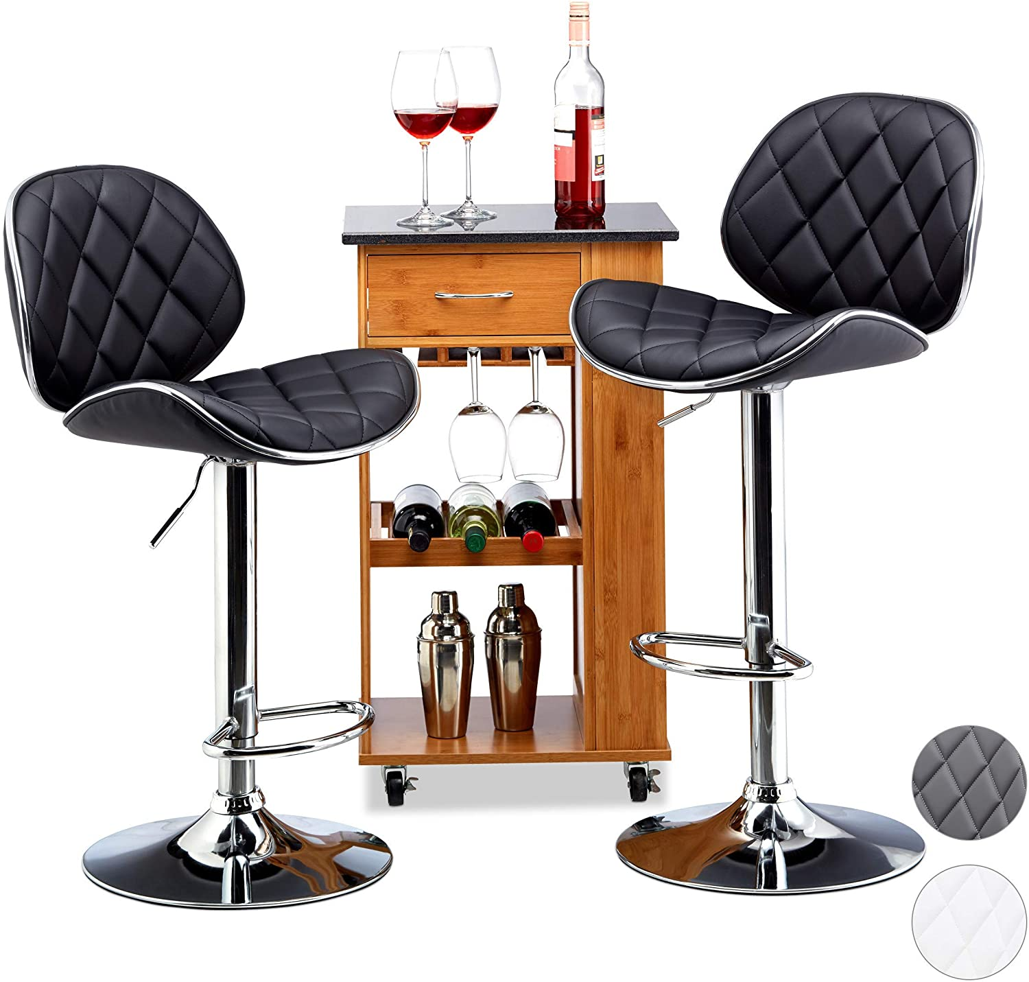 Relaxdays Bar Bombing free shipping Stool Set of Swivel specialty shop Backres Height-Adjustable 2