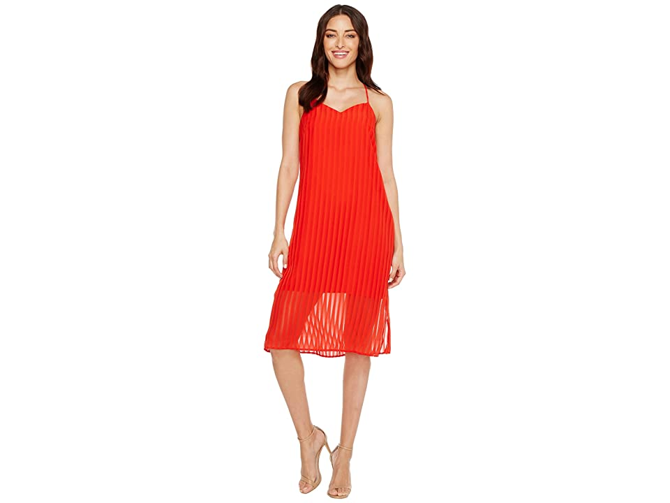 CeCe Lacey Striped Chiffon (Fiery Red) Women