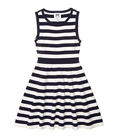 Milly Minis Striped Fit-and-Flare Dress (Big Kids) (Navy/White) Girl