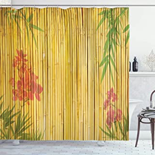 Ambesonne Bamboo House Decor Collection, Lotus Flower and Bamboo Background on Stems Tropical Plant Oriental Art, Polyester Fabric Bathroom Shower Curtain Set with Hooks, Red Green Gold