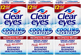 Clear Eyes Cooling Comfort Redness Eye Drops | Relieves Dryness, Burning, Irritations | 0.5 ozper Box | Pack of 3