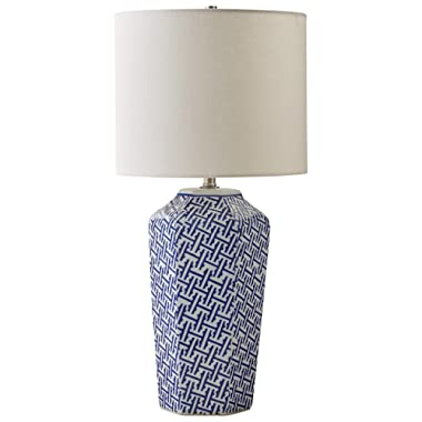 Amazon Brand – Stone & Beam Geo Pattern Ceramic Nightstand Table Lamp With LED Light Bulb - 12 x 12 x 26 Inches, Blue and White