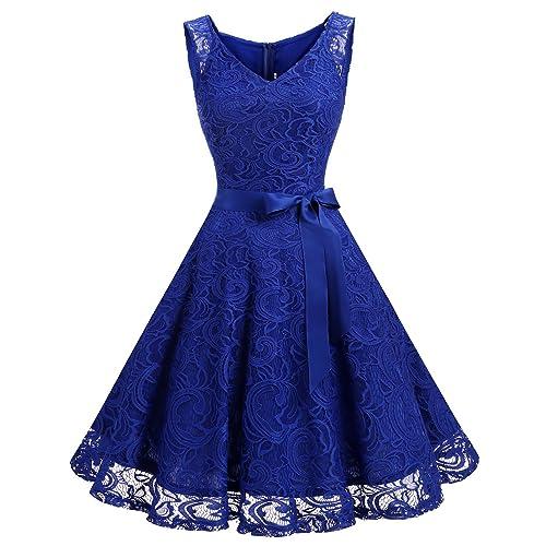 e367946955b6cc Dressystar Women Floral Lace Bridesmaid Party Dress Short Prom Dress V Neck