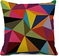 Colorful Geometry Decorative Throw Pillow Covers Cotton Linen Square Cushion Covers Geometry Pillow Cases for Sofa Office Home Decor 20 X 20 Inch