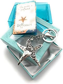 Smiling Wisdom - Starfish Story Keychain You Make a Profound Difference Keepsake Greeting Card Gift Set - Great Way to Show Appreciation for Woman Friend, Teacher, Caregiver, Coach, Mentor - Silver