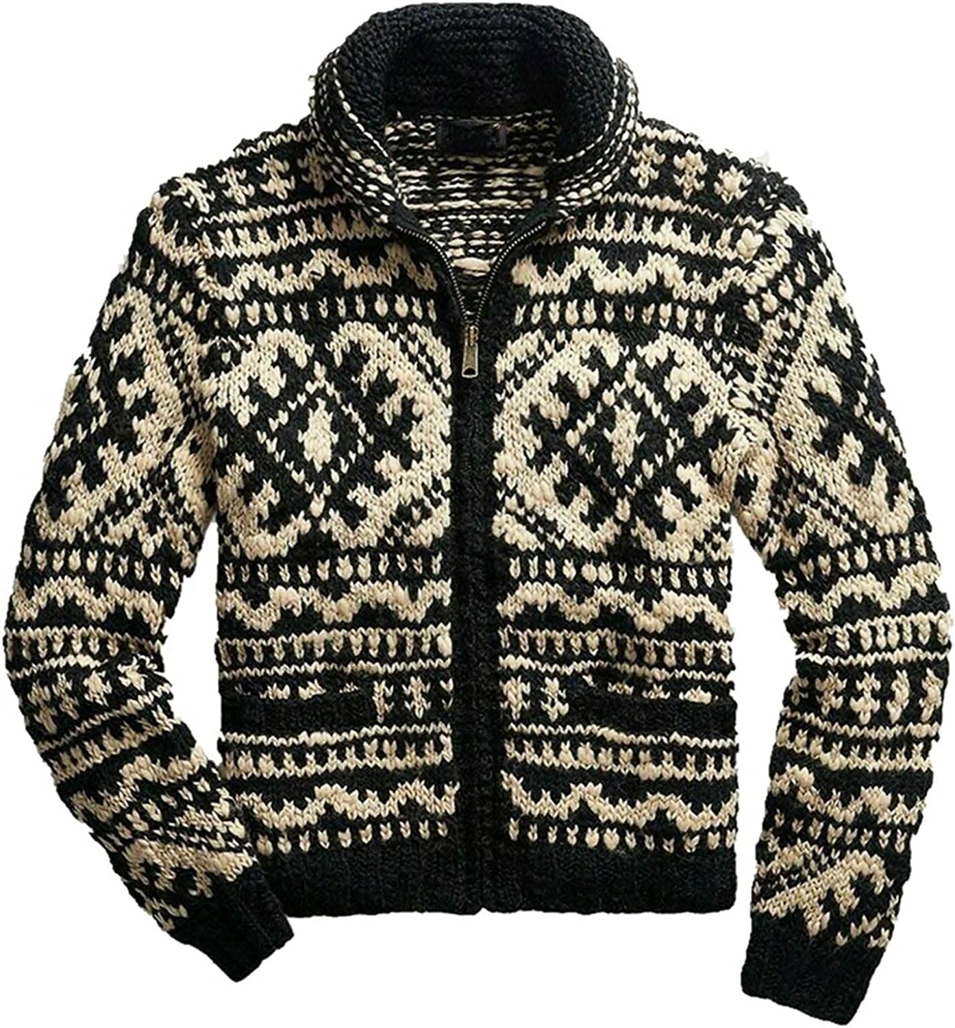 Huangse Mens Argyle Print Sweater Casual Full Zip Knitted Cardigan Stripe Sweaters Stand Collar Open Front Cardigan