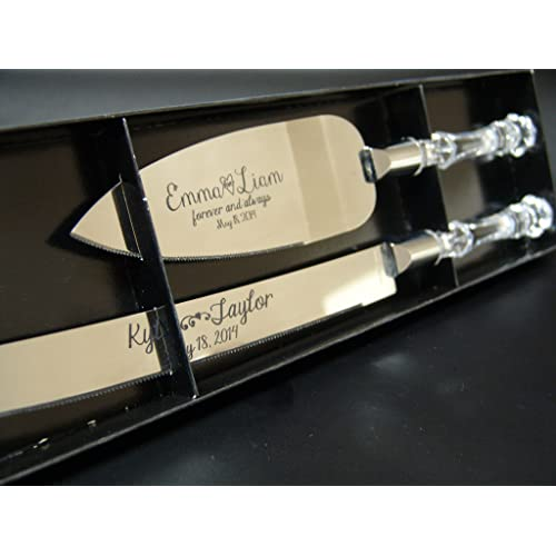 Personalized Wedding Cake Knife and Server Set with Faux Crystal Handles (stainless steel silver in