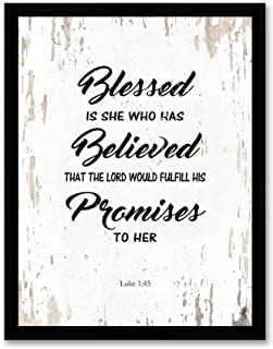 Art Hub Blessed is She Who Has Believed - Framed - Bible Verse Quote Canvas Print, Black Real Wood Frame, White, 14x18