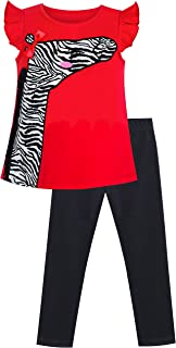 Sunny Fashion Girls Outfit Set Tee and Pants Zebra Clothing Set Size 2-6 Years