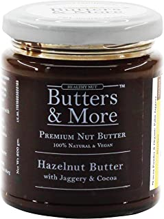 Butters & More Vegan Hazelnut Butter with Dark Cocoa & Organic Palm Jaggery (200G). No Refined Sugar. Healthy Chocolate Sp...