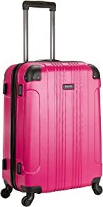 Kenneth Cole Reaction Out Of Bounds 24-inch Check-Size Lightweight Durable Hardshell 4-Wheel Spinner Upright Luggage, Magenta