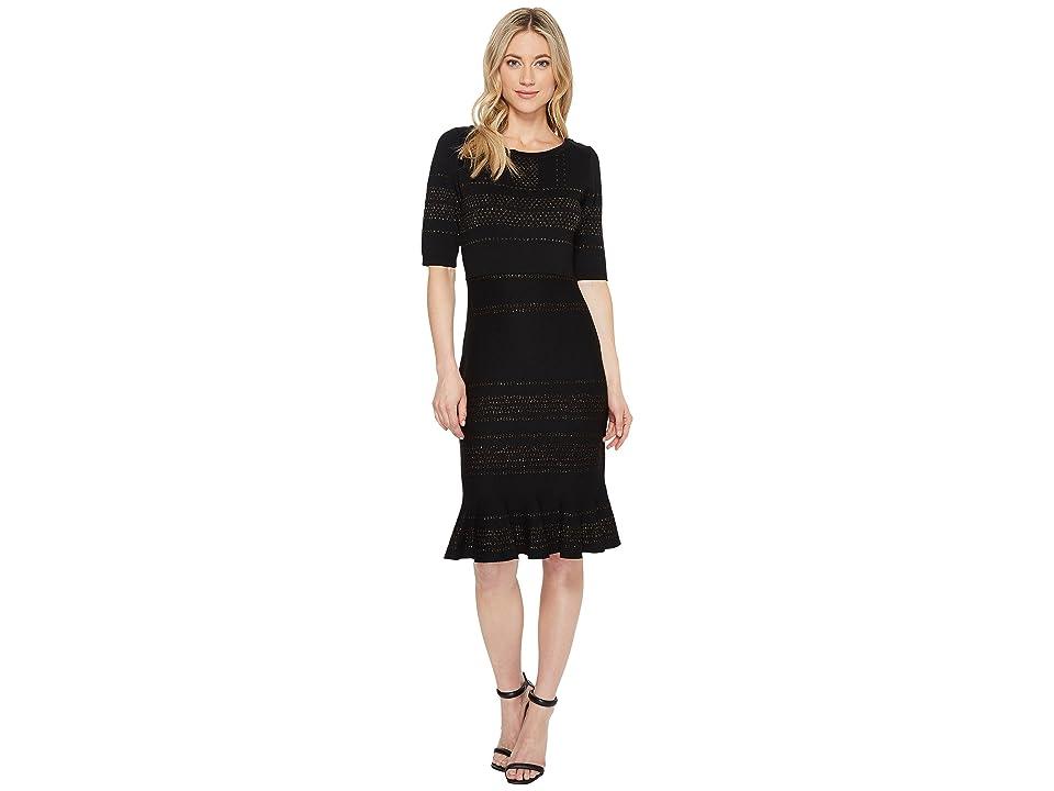 Taylor Glitter Bodycon Sweater Knit Dress with Flounce Hem (Black/Gold) Women