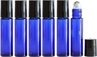Cobalt Blue Glass Roll On Bottles with Stainless Steel Roller Balls (10 ml, 6 pk), Highest Quality