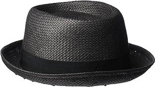 French Connection Women's Straw Pork Pie Hat, Black/Black, One Size