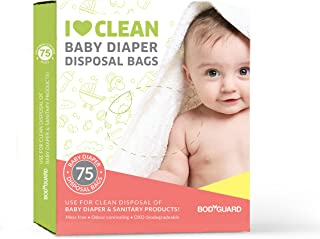 BodyGuard Baby Diapers & Sanitary Disposal Bag - 75 Pcs | Discreet Disposal and Odor Sealing for Diapers and Intimate Sanitary Products