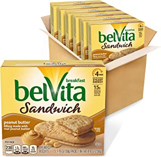 Belvita Sandwich Peanut Butter Breakfast Biscuits, 6 Boxes of 5 Packs (2 Sandwiches Per Pack)