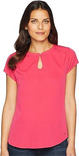 Keyhole Knit Woven Shirt