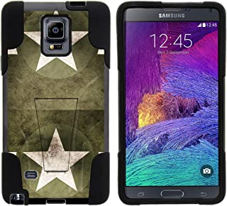 TurtleArmor | Compatible with Samsung Galaxy Note 4 Case | N910 [Gel Max] Impact Proof Cover Hard Kickstand Hybrid Fitted Shock Silicone Shell Military War Army Camo - Military Stars