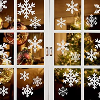 White Snowflakes Window Decorations Clings Decal Stickers Ornaments for Christmas Frozen Theme Party New Year Supplies-3 Sheets, 81 pcs