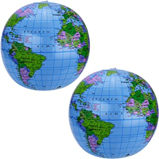 Pangda 2 Pack 16 Inches Inflatable Globe Blow up World Globe Beach Ball Globe for Party Bags,  PVC Material