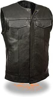 SOA Men's Basic Leather Motorcycle Vest Zipper & Snap, Collarless, Size Xx-Large