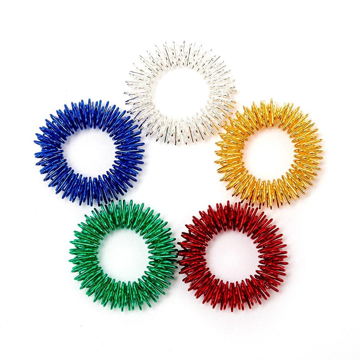 代替案文ベールAIEX トゲトゲ形状 指用 感覚刺激リング 指圧マッサージ 静かに遊べる感覚刺激フィジェットトイ 子供/10代/大人に最適 自閉症の集中力対策 鮮やかな5色