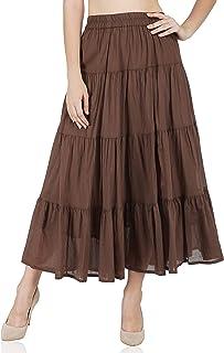 KILKI 100% Cotton Women's Western Plain/Solid Cotton Women's Tier Skirt - Free Size
