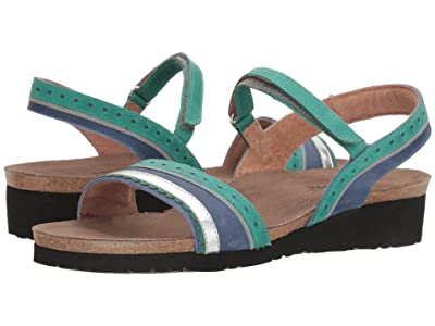 Naot Beverly (Oily Emerald Nubuck/Oily Blue Nubuck/Silver Mirror Leather) Women